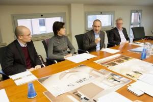 La conferenza stampa di presentazione dei lavori, con Lorenzo Baldini, Emma Davoli, Leonardo Morsiani e Ugo Ferrari.