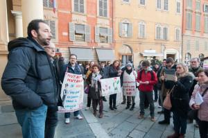 """Matteo Iori, il primo da sinistra, presidente dell 'associazione """"centro Sociale Papa Giovanni XIII"""""""