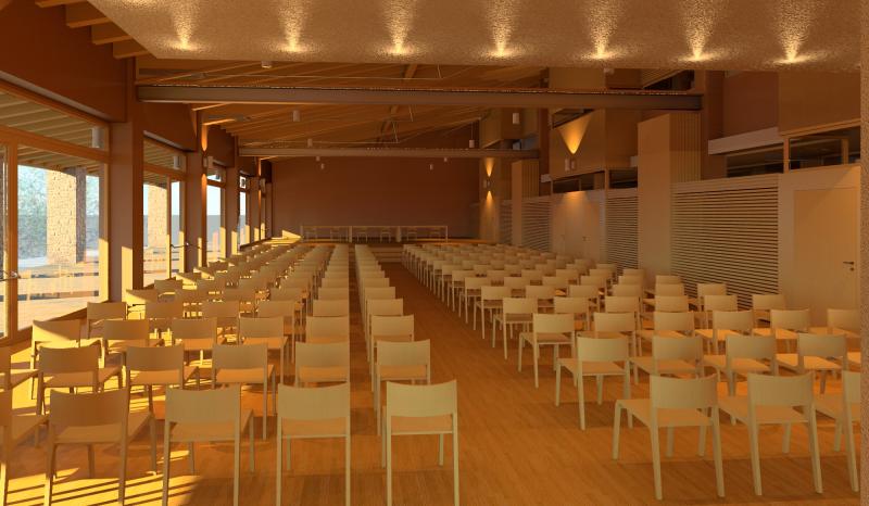 Castelnovo ne' Monti - nuovo Centro Interparrocchiale - Interno salone dall'ingresso - foto Studio Architetto Gabriele Ferri