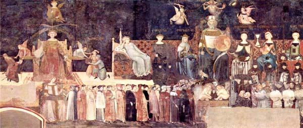 Allegoria-del-buon-governo-di-Ambrogio-Lorenzetti,-conservato-nel-Palazzo-Pubblico-di-Siena-e-databile-nel-1338