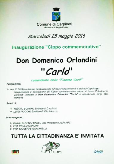 Invito all'inaugurazione del cippo a ricordo di don Domenico Orlandini