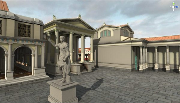 Scorcio del foro romano ricostruito in Forum@Lepidi