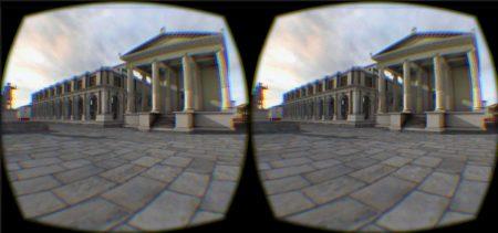Un'immagine dell'applicazione Forum@Lepidi vista attraverso Oculus Rift