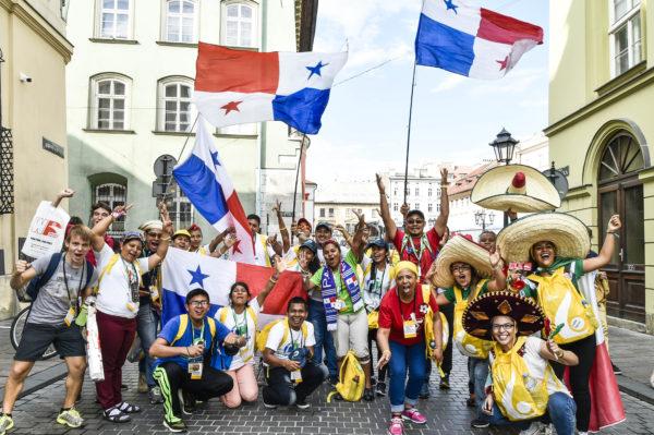Cracovia, 30 luglio 2016. GMG 2016 Pellegrini provenienti da Panama, dove si svolgerˆ la prossima Giornata Mondiale della Giovent.