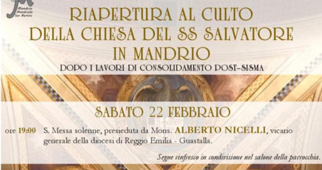 Mandrio, riapertura della chiesa del SS Salvatore